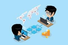 Homens de negócios isométricos que conectam em linha pelo enigma e pelo caderno de serra de vaivém ilustração do vetor