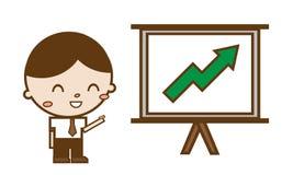 Homens de negócios que apontam em uma placa da carta de crescimento Foto de Stock Royalty Free
