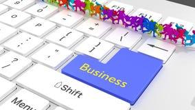 Homens de negócios em linha ocupados do teclado do negócio que correm em linha reta Imagem de Stock