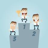 Homens de negócios engraçados no pódio dos vencedores Imagem de Stock