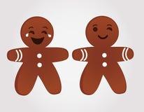 Homens de pão-de-espécie dos Emoticons que sorriem e que pisc ilustração do vetor