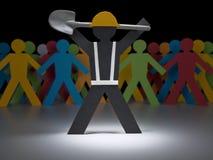 Homens de papel no trabalho Imagens de Stock