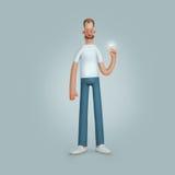 Homens de sorriso que estão as calças brancas do azul da camisa Imagens de Stock Royalty Free