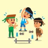 Homens do esporte dos desenhos animados Foto de Stock