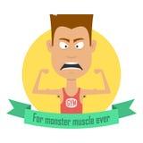 Homens do halterofilismo dos desenhos animados Gym, gajo do profissional da aptidão Monstro do músculo Imagens de Stock Royalty Free