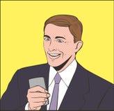 Homens do sorriso com telefone Imagens de Stock Royalty Free