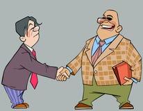 Homens dos desenhos animados nos ternos que agitam as mãos Imagem de Stock