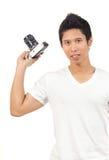 Homens e câmera Fotografia de Stock Royalty Free