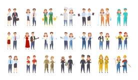 Homens e mulheres das profissões ilustração do vetor