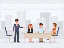 Homens e mulheres no personagem de banda desenhada da reunião do escritório Conversação de trabalho das prosas ilustração stock
