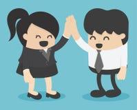 Homens e mulheres que agitam as mãos empresários que sucedem ilustração stock