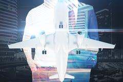 Homens e multiexposure do avião Imagem de Stock