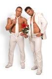 Homens e uma rosa Imagens de Stock Royalty Free