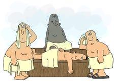 Homens em uma sauna Fotos de Stock Royalty Free