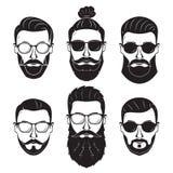 Homens farpados dos modernos com as barbas diferentes dos bigodes dos penteados Foto de Stock