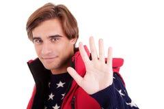 Homens felizes que mostram 5 dedos fotografia de stock