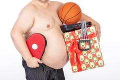 Homens grandes da barriga antes da dieta e da aptid?o fotos de stock royalty free