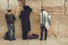 Homens judaicos que rezam na parede lamentando sagrado, parede ocidental, Jer foto de stock royalty free