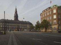 Homens Kanal street, Copenhagen. Denmark with a view to Christiansborg Palace Royalty Free Stock Images