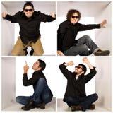 Homens loucos frescos no espaço branco Imagens de Stock