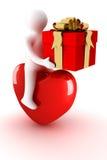 Homens montado no coração com um presente. ilustração stock