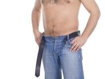 Homens nas calças de brim sobre o branco Foto de Stock Royalty Free
