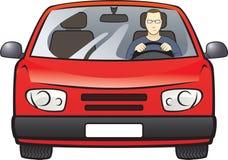 Homens no carro vermelho Imagens de Stock Royalty Free