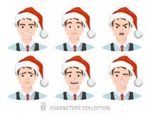 Homens no chapéu de Santa com emoções diferentes Imagens de Stock Royalty Free