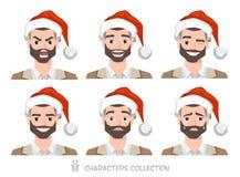 Homens no chapéu de Santa com emoções diferentes Foto de Stock Royalty Free
