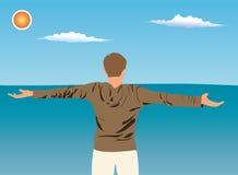 Homens no mar. Vetor. ilustração do vetor