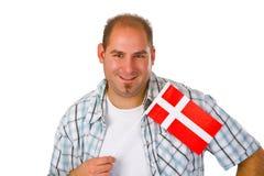 Homens novos com bandeira dinamarquesa Fotografia de Stock