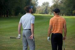 Homens novos que estão no campo de golfe com varas, vista traseira Imagens de Stock