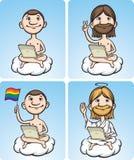 Homens nus dos desenhos animados em uma nuvem com portátil ilustração royalty free