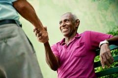 Homens pretos e caucasianos idosos que encontram e que agitam as mãos no parque fotos de stock