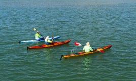 Homens que canoeing no lago Fotografia de Stock