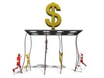 Homens que escalam a um símbolo do ouro do dinheiro ilustração stock