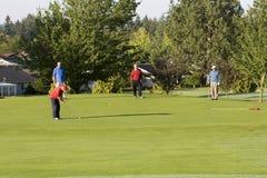 Homens que jogam o golfe no curso fotografia de stock royalty free