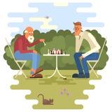 Homens que jogam a xadrez ilustração royalty free