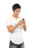Homens que prendem um telemóvel Foto de Stock Royalty Free
