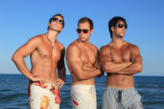Homens que relaxam na praia Fotografia de Stock Royalty Free