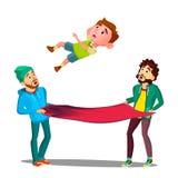 Homens que travam o menino da criança que cai fora da janela no vetor do toldo do fogo Ilustração isolada ilustração do vetor
