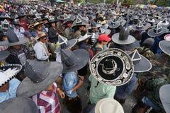 Homens que vestem sombreiros da extra grande em Inti Raymi em COtacachi ECU Fotos de Stock Royalty Free
