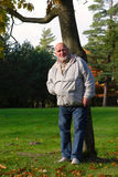 Homens sênior que estão a árvore próxima fotografia de stock royalty free