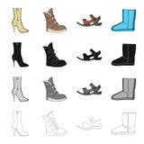 Homens s e sapatas das mulheres s Tipos diferentes de ícones ajustados da coleção das sapatas no vetor monocromático do estilo do Foto de Stock