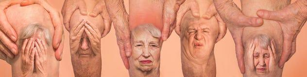 Homens superiores que guardam o joelho com dor collage Conceito da dor e do desespero abstratos imagens de stock