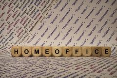 Homeoffice - cube with letters and words from the computer, software, internet categories, wooden cubes Royalty Free Stock Photo