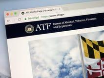 Homeopage dell'ufficio di alcool, di tabacco, delle armi da fuoco e degli esplosivi - ATF Fotografia Stock