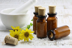 Homeopathic arnica pills Royalty Free Stock Photography