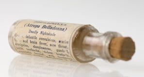 Homeopathic belladonna medicine bottle. Vintage belladonna homeopathic medicine bottle Royalty Free Stock Image
