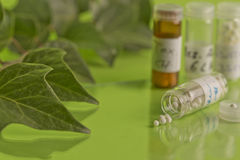 Homeopathic bottles and Pills Stock Photos